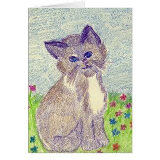 Gatito del creyón tarjeta de felicitación