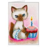 Gatito del cumpleaños - arte lindo del gato felicitación