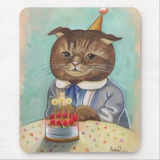 Gatito del cumpleaños de la torta de la fresa tapetes de raton