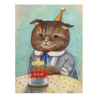 Gatito del cumpleaños de la torta de la fresa postal