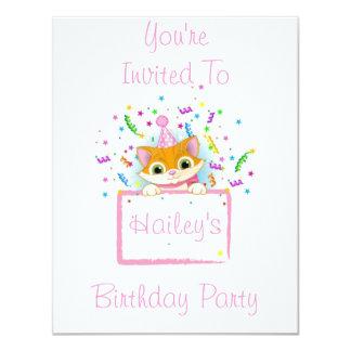 """Gatito del cumpleaños invitación 4.25"""" x 5.5"""""""