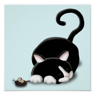 Gatito del dibujo animado con el ratón del juguete póster