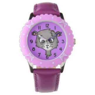 Gatito del dibujo animado relojes de pulsera