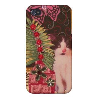 Gatito del escondite: Caja linda del teléfono iPhone 4 Protector