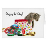 Gatito del feliz cumpleaños tarjeta de felicitación