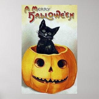 Gatito del feliz Halloween del vintage en una impr Impresiones