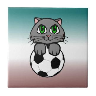 Gatito del fútbol teja cerámica