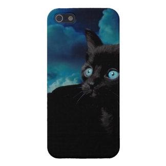 Gatito del gato negro del caso del iPhone 5 del ga iPhone 5 Protectores