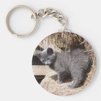 Gatito del granero llavero redondo tipo pin
