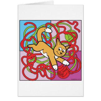 Gatito del hilado tarjeta de felicitación