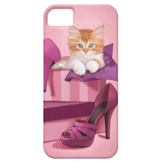Gatito del jengibre en caja de zapatos iPhone 5 fundas