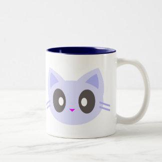gatito del kawaii taza de café de dos colores