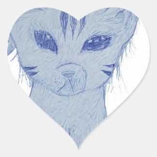 Gatito del maullido pegatina en forma de corazón