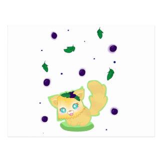 Gatito del mollete del arándano tarjeta postal