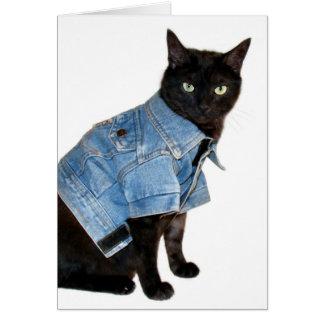 gatito del motorista tarjeta de felicitación