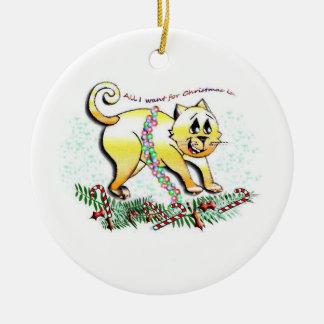 Gatito del navidad adorno navideño redondo de cerámica