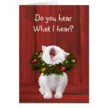 Gatito del navidad blanco felicitación