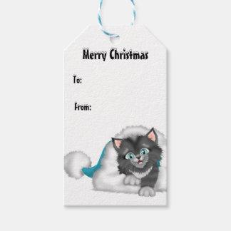 Gatito del navidad con el gorra azul etiquetas para regalos
