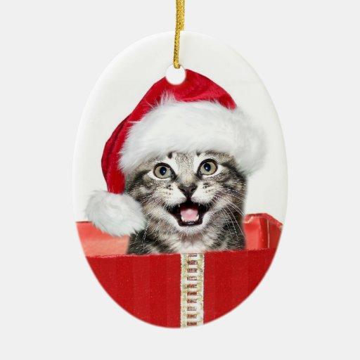 Gatito del navidad ornamentos de navidad