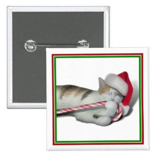 Gatito del navidad del bastón de caramelo pin