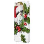 Gatito del navidad del vintage del viejo estilo funda barely there iPhone 6 plus