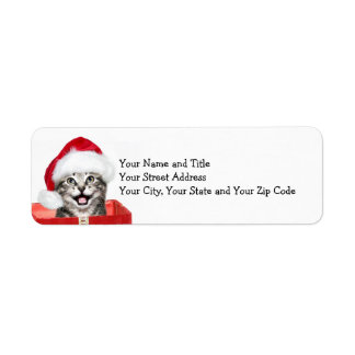 Gatito del navidad etiquetas de remite