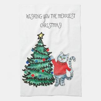 Gatito del navidad toalla de cocina