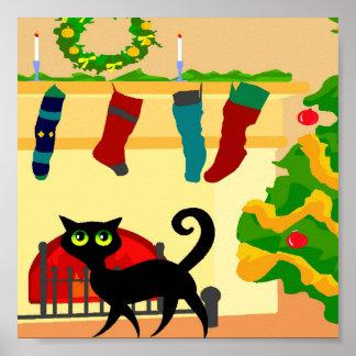 Gatito del navidad póster