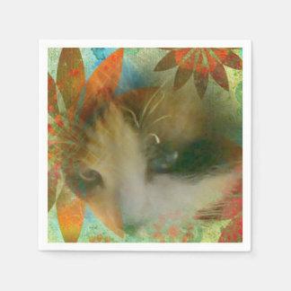 gatito del niño de flor de los años 60 de la servilleta de papel