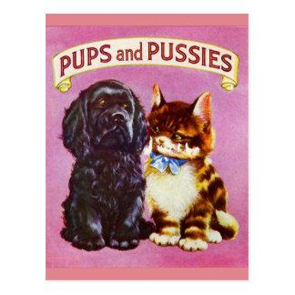 Gatito del perro del gato de los perritos y de los tarjeta postal