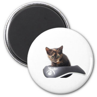 Gatito del pirata informático imán redondo 5 cm