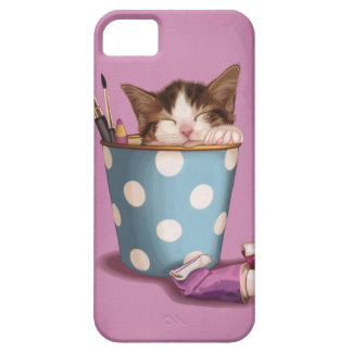 Gatito del pote del lápiz iPhone 5 protectores