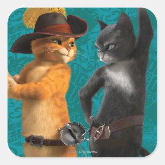 Gatito del Puss del CG Colcomanias Cuadradas Personalizadas