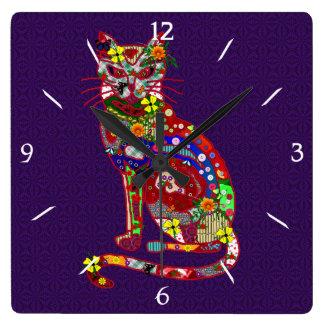 Gatito del remiendo reloj cuadrado