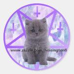 gatito del satanist para hoisington6 etiqueta redonda