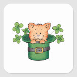 Gatito del St. Patricks Pegatina Cuadrada