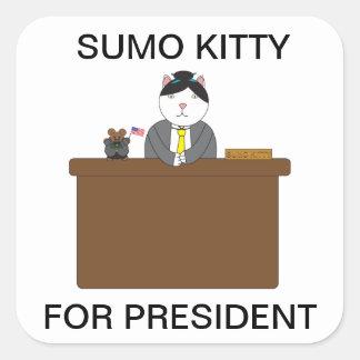 Gatito del sumo para presidente Sticker Pegatina Cuadrada
