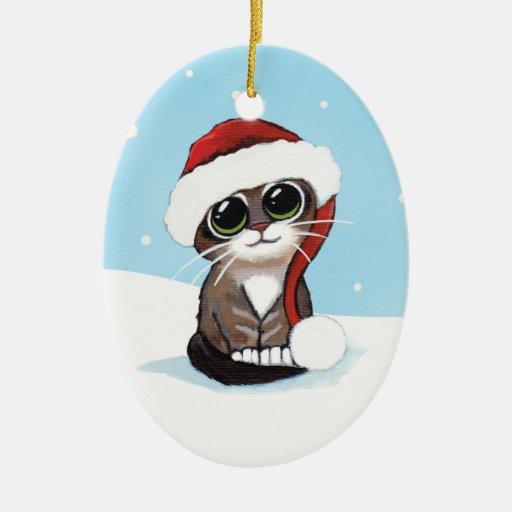 Gatito del Tabby del navidad en un gorra de Santa Ornamentos De Reyes Magos