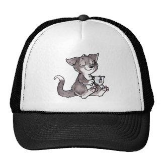 Gatito del té negro gorros bordados