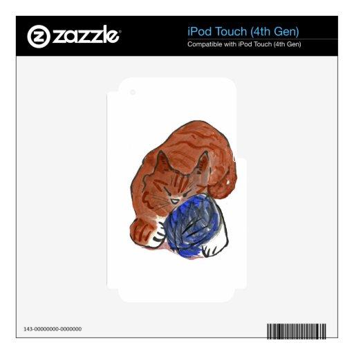 Gatito del tigre el dormitar en bola del hilado calcomanías para iPod touch 4G