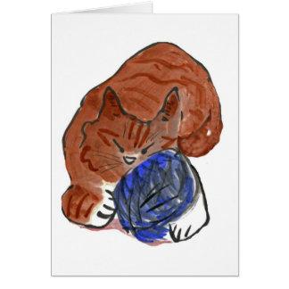 Gatito del tigre el dormitar en bola del hilado tarjeta de felicitación