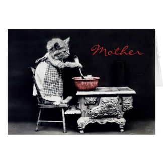 Gatito del vintage que cocina la tarjeta del día d