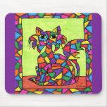 Gatito del vitral tapete de ratón