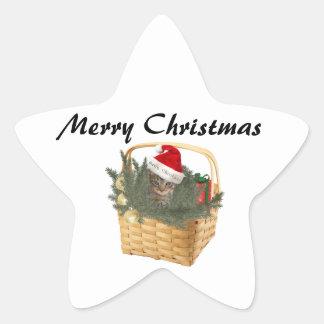 Gatito divertido de moda de Santa del navidad en Pegatina En Forma De Estrella