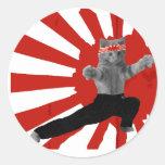 Gatito divertido del karate pegatinas