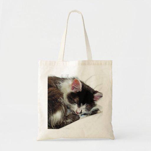 Gatito dormido en el consolador blanco bolsas