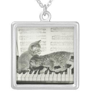 Gatito dos que juega en el teclado de piano, (B&W) Collar Personalizado