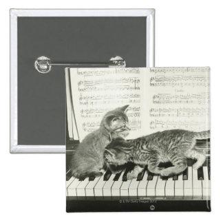 Gatito dos que juega en el teclado de piano, (B&W) Pin Cuadrada 5 Cm