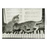 Gatito dos que juega en el teclado de piano, (B&W) Tarjetón