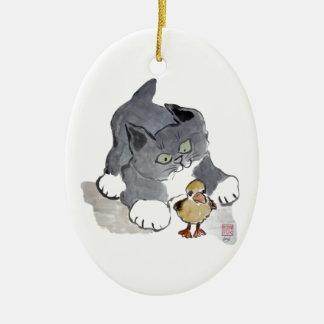 Gatito Ducky y gris de Lil Adorno Navideño Ovalado De Cerámica